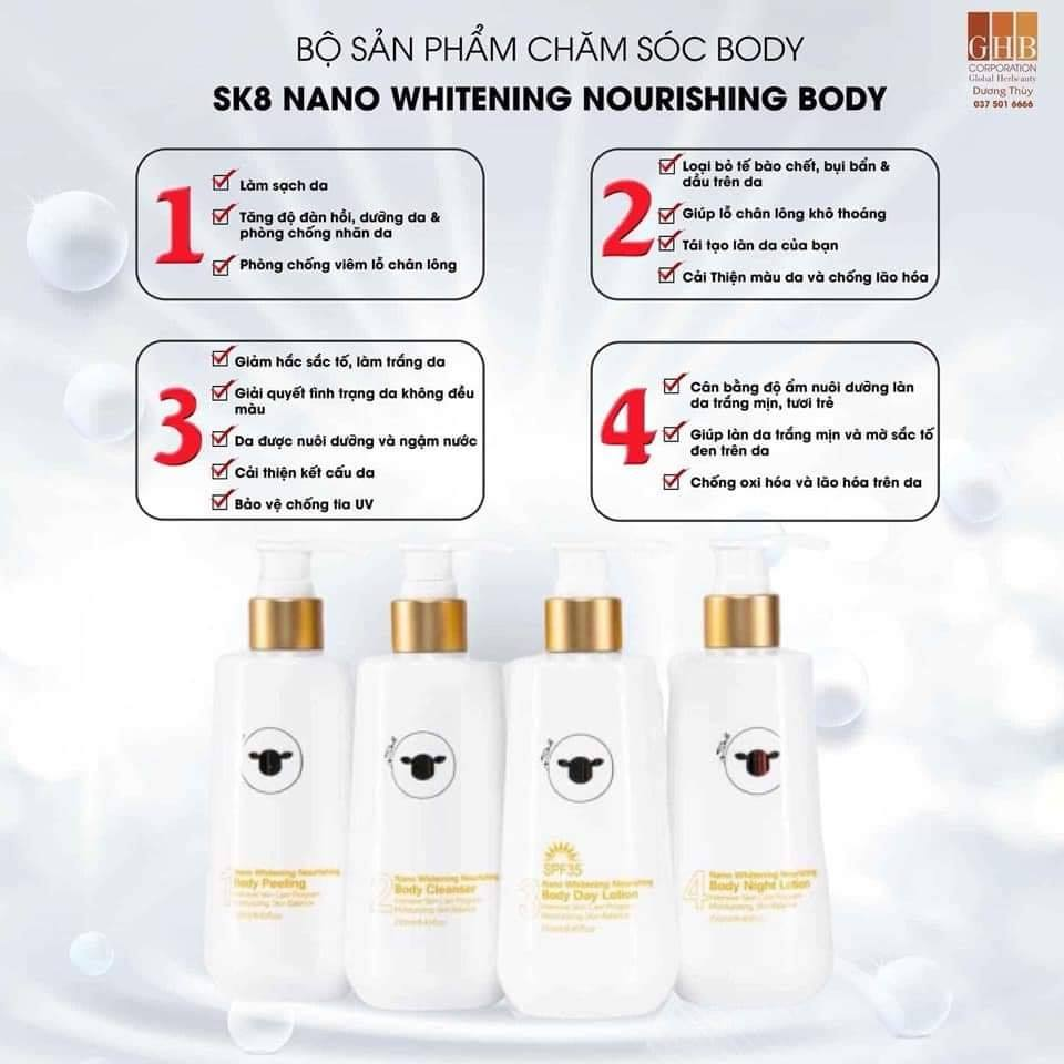 Kem Dưỡng Ban Đêm SK8 Nano Whitening Nourishing Body Night Lotion